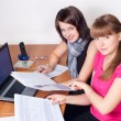 Stock Photo: Girls work at office