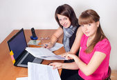 Girls work at office — Stock Photo