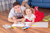 Family draw on a floor — Stock Photo