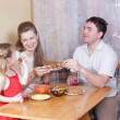 Family on kitchen — Stock Photo #4685874