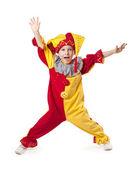Funny child clown costume — Stock Photo