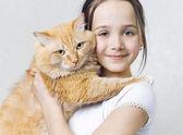 Büyük kırmızı bir kedi olan bir kız — Stok fotoğraf