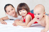 Brother and two sisters — Stock Photo