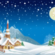 Stock Vector: Christmas night in village