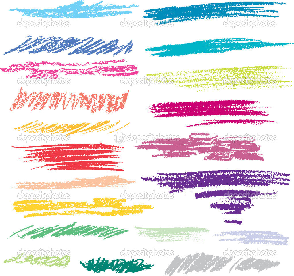 Set of colored brush strokes of pastel — Stock Vector #4781035