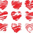 Stock Vector: Set of scribbled red hearts