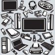 Royalty-Free Stock Vector Image: Electronics and computers equipment icon set