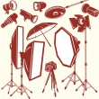 Set of photo studio equipment — Stock Vector