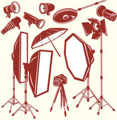 Set of photo studio equipment — Stock Vector