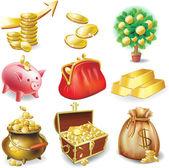 Conjunto de iconos en el tema financiero — Vector de stock