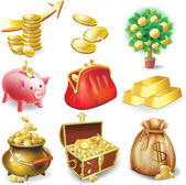 Set of icons on the financial theme — 图库矢量图片