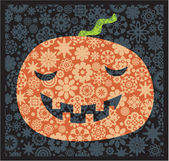 Halloween pumpkin with the flower decor. — Stock Vector