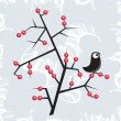 Winter bird on the tree. — Imagen vectorial
