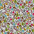 Seamless doodle Christmas pattern. — Vector de stock