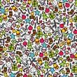 naadloze doodle Kerst patroon — Stockvector