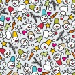 Seamless snowman pattern. - Stock Vector