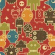 Robot and monsters seamless pattern on red. — Vector de stock