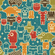 Robot and monsters seamless pattern on blue. — Cтоковый вектор