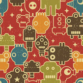 Robot and monsters seamless pattern on red. — Stock Vector