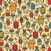 Robot seamless pattern. — Stock Vector