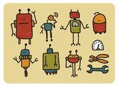 Retro roboti. — Stock vektor