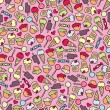 Cake and candy seamless pattern. - Vektorgrafik
