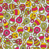Matreshka doll seamless pattern. — Stock Vector