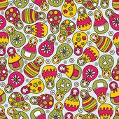 Matreshka doll seamless pattern. — Stock Vector