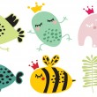Cute animals in crown set. — Stock Vector