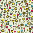 Happy flowers seamless pattern. - Stock Vector