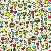 Happy flowers seamless pattern. — Stock Vector