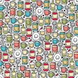 Happy dishes seamless pattern. - Stock Vector