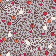 Seamless pattern with romantic chickens, hearts and flora. — 图库矢量图片