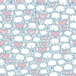 Royalty-Free Stock Vector Image: Seamless pattern with hearts and clouds.