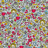 Romantic seamless pattern with devil. — 图库矢量图片