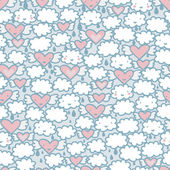 Seamless pattern with hearts and clouds. — Stock Vector
