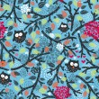 Seamless pattern with owls and floral elements on blue. — Stock Vector