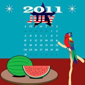 Summer July 2011 — Stock Vector
