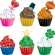 Holiday Cupcakes - Stock Vector