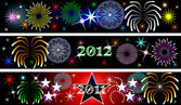 New Year Firework Banners — Stock Photo