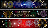 New Year Firework Banners 2 — Stock Photo