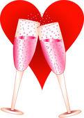 Love Champagne Glasses — Stock Vector