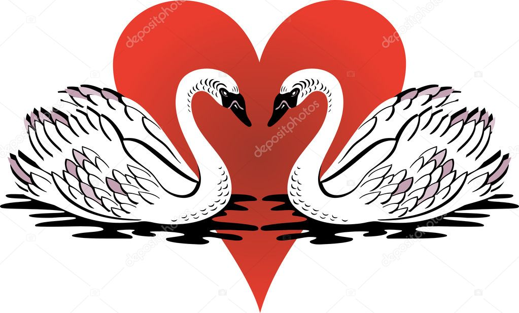 Swans Love Clipart Ill...