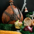Christmas decoration with snowflakes, keg, garland, onion, corn — Stock Photo