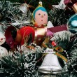 Christmas decoration with Christmas toys — Stock Photo