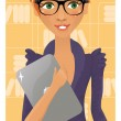 Stock Vector: Cute business woman holding a notebook