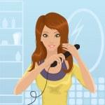 Hair straightening — Stock Vector