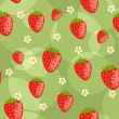 Royalty-Free Stock Vector Image: Seamless green background with strawberries