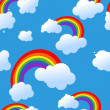 Seamless rainbow and clouds background — Stok Vektör