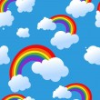 Seamless rainbow and clouds background — 图库矢量图片